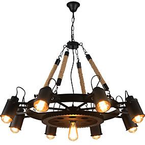 povoljno Lámpatestek-Luster u boji industrijskog konopca s 9 svjetla dolje oslikan završava metalnim kreativnim 110-120v / 220-240v