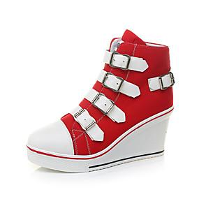 voordelige Damessneakers-Dames Sneakers Sexy Schoenen Sleehak Ronde Teen Gesp Canvas Informeel / minimalisme Lente zomer Zwart / Rood / Roze