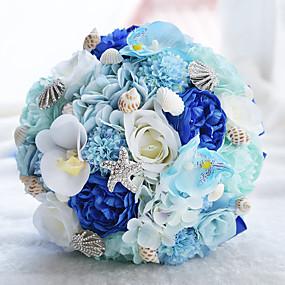 economico Bouquet sposa-Bouquet sposa Bouquet Matrimonio / Ricevimento di matrimonio Taffetà / Pizzo / Poliestere 26 cm ca.