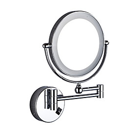 cheap Bathroom Gadgets-Wall Mounted Makeup Mirror LED Lighted Double Sided 5X Magnification 360° Swivel Extendable Cosmetic Vanity Mirror for Bathroom Hotels, Powered by Batteries
