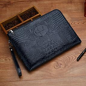 ราคาถูก Clutches-สำหรับผู้ชาย ซิป PU กระเป๋าถือ จระเข้ สีดำ / สีน้ำตาล / สีน้ำเงิน / ฤดูใบไม้ร่วง & ฤดูหนาว