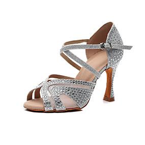 preiswerte Partysammlungen-Damen Tanzschuhe Kunststoff Schuhe für den lateinamerikanischen Tanz Kristall Verzierung Absätze Keilabsatz Maßfertigung Silber / Rot / Blau / Leistung / Praxis