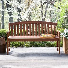preiswerte Outdoor-Bänke-geschwungene Rückenlehne 4-Fuß-Gartenbank mit Armlehnen in Naturholzoptik