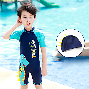 cheap Kid's-Boys' Rash Guard Dive Skin Suit Diving Suit UV Sun Protection Breathable Quick Dry Short Sleeve Back Zip - Swimming Surfing Water Sports Painting Autumn / Fall Spring Summer / Micro-elastic / Kid's