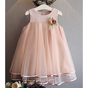 preiswerte Neue im Sortiment-Kinder Mädchen Staubige Rose Solide Kleid Rosa