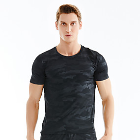 cheap Camping, Hiking & Backpacking-Men's Hiking Tee shirt Short Sleeve Crew Neck Tee Tshirt Top Outdoor Fast Dry Quick Dry Breathable Sweat wicking Summer Polyester Patchwork White Black Blue Camping / Hiking Outdoor Exercise