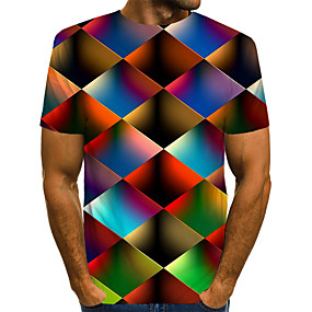 cheap 3D-Men's Daily Wear Club Street chic / Exaggerated EU / US Size T-shirt - Color Block / 3D / Graphic Print Round Neck Rainbow / Short Sleeve