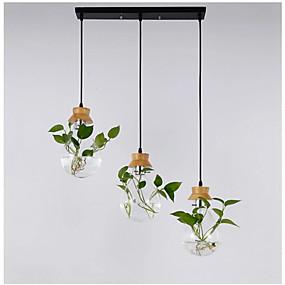 povoljno Viseća rasvjeta-čvrsto drvo staklo vrt biljka lampa restoran izlog izlog kreativna osobnost privjesak svjetlo 3pcs s pravokutnikom stropne ploče