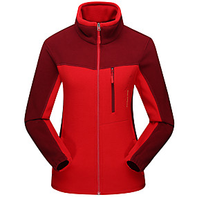 cheap Camping, Hiking & Backpacking-Men's Hiking Fleece Jacket Autumn / Fall Winter Outdoor Patchwork Thermal Warm Windproof Warm Breathable Winter Jacket Hunting Climbing Camping / Hiking / Caving Purple Yellow Red
