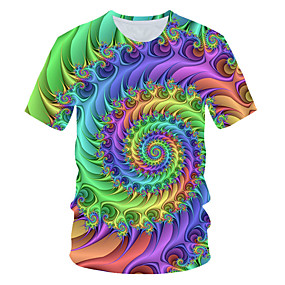 cheap Athleisure Wear-Men's T shirt Shirt Graphic Geometric Short Sleeve Daily Tops Basic Round Neck Rainbow
