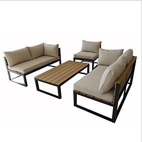 baratos Móveis-Mobília do pátio ao ar livre moderna de 4 peças com almofadas
