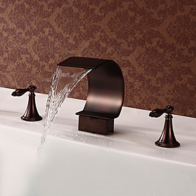 cheap BATHROOM-Bathroom Sink Faucet - Waterfall Oil-rubbed Bronze Widespread Two Handles Three HolesBath Taps
