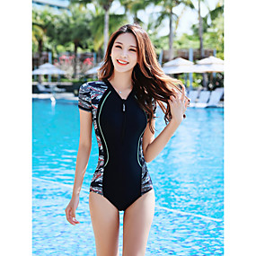 cheap Surfing, Swimming & Diving-Women's One Piece Swimsuit Nylon Spandex Swimwear Bodysuit Quick Dry Stretchy Short Sleeve Front Zip - Swimming Surfing Patchwork Summer