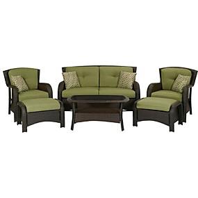 baratos Móveis-conjunto de móveis de vime ao ar livre 6-piece resina resina com almofadas de assento verde