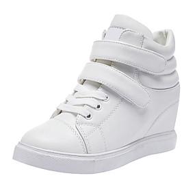 voordelige Damessneakers-Dames Sneakers Sportieve look Sleehak Ronde Teen Gesp Microvezel Vintage / Informeel Wandelen Lente & Herfst / Winter Wit / Zwart