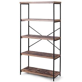 preiswerte Aufbewahrungsmöglichkeiten-Industriemetallholz 5-stufiges Bücherregal Bücherregal