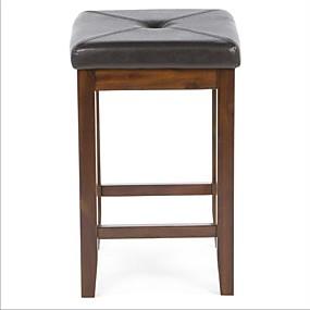 preiswerte Küche- und Esszimmermöbel-2er-Set Barhocker aus Mahagoni mit Kunstlederkissen