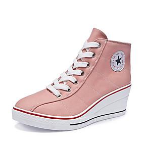 voordelige Damessneakers-Dames Sneakers Sexy Schoenen Sleehak Ronde Teen Gesp Canvas Informeel / minimalisme Lente zomer Blauw / Roze / Luipaard