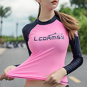 cheap Surfing, Swimming & Diving-LCDRMSY Women's Rash Guard Swimwear UV Sun Protection Quick Dry Micro-elastic Long Sleeve Swimming Surfing Snorkeling Painting Summer