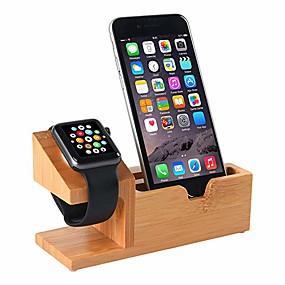 billige Smartwatch Mounts & Holders-kompatibel med Apple Watch står USB-ladestativ Telefonstativ med 3 USB-ladestasjon Bamboo Wood Ladestasjon for 38mm og 42mm Apple Watch