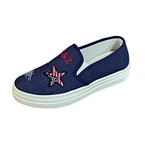 voordelige Damesinstappers & loafers-Dames Loafers & Slip-Ons Platte hak Ronde Teen Canvas Informeel Zomer Donkerblauw / Lichtblauw