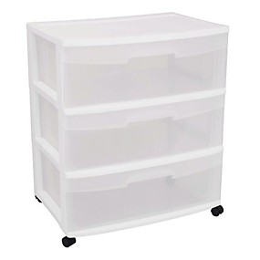 preiswerte Aufbewahrungs-Organizer-Mobiler Schrank mit 3 Schubladen in klarem Weiß