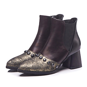 billige Mote Boots-Dame British Style Plaid Shoes PU Høst vinter Vintage / Britisk Støvler Tykk hæl Rund Tå Støvletter Nagle Gull / Hvit / Fest / aften