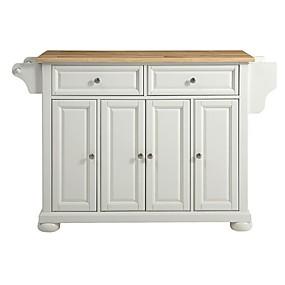 preiswerte Küchenschränke-weißer Kücheninselschrank mit Massivholzplatte