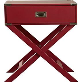 preiswerte Beistelltische-moderner französischer Schwalbenschwanz-Nachttisch mit 1 Schublade aus rotem Holz