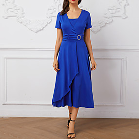 preiswerte This Summer You Are The Most Fashionable-Damen Übergrössen Skater Kleid Solide Midi