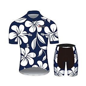 cheap Cycling & Motorcycling-21Grams Floral Botanical Women's Short Sleeve Cycling Jersey with Shorts - Blue+White Bike Clothing Suit Anatomic Design Quick Dry Moisture Wicking Sports Summer 100% Polyester Mountain Bike MTB Road