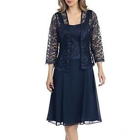 preiswerte Damenbekleidung-Damen Übergrössen Grundlegend Spitze Schlank Hülle Zweiteiler Kleid - Spitze, Solide Knielang Gurt