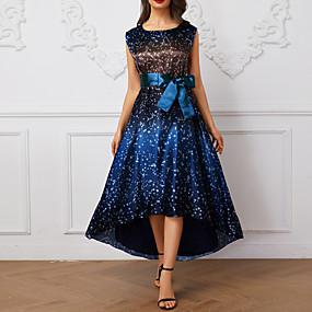 preiswerte This Summer You Are The Most Fashionable-Damen Elegant Swing Kleid Punkt Asymmetrisch