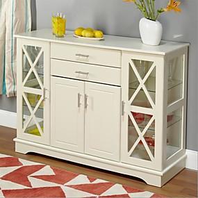 preiswerte Küchenschränke-Büffet-Sideboard aus weißem Holz mit Glasvitrinentüren