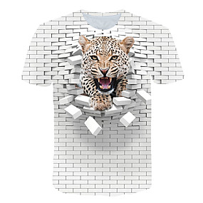 cheap Athleisure Wear-Men's T shirt Color Block 3D Animal Print Short Sleeve Club Tops Streetwear Exaggerated White