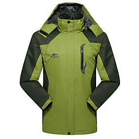 cheap Camping, Hiking & Backpacking-Men's Hiking Jacket Hiking Windbreaker Autumn / Fall Winter Spring Outdoor Solid Color Thermal Warm Windproof Quick Dry Breathable Jacket Top Elastane Hunting Fishing Climbing Red Army Green Blue