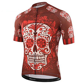 cheap Cycling & Motorcycling-21Grams Sugar Skull Skull Men's Short Sleeve Cycling Jersey - Red and White Bike Jersey Top Quick Dry Back Pocket Sweat wicking Sports Summer Terylene Mountain Bike MTB Road Bike Cycling Clothing