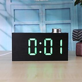 preiswerte Neu Eingetroffen-ts-t12 digitaler holzmaserung knopf led uhr alarm w / temperatur c / f anzeige