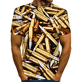 cheap Athleisure Wear-Men's T shirt Graphic Machine Print Short Sleeve Daily Wear Tops Streetwear Exaggerated Gold