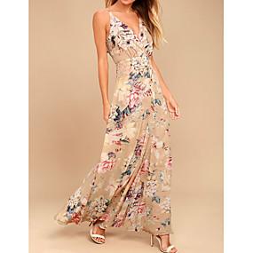 preiswerte Damenbekleidung-Damen Anspruchsvoll Swing Kleid - Druck, Blumen Maxi