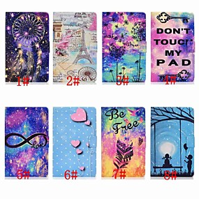 cheap Samsung Case-Case For Samsung Galaxy Samsung Tab A 10.1(2019)T510 Card Holder / Shockproof / with Stand Full Body Cases sky / Cartoon / Feathers Hard PU Leather