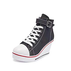 voordelige Damessneakers-Dames Sneakers Sexy Schoenen Sleehak Ronde Teen Gesp Imitatieleer Informeel / minimalisme Lente zomer Wit / Regenboog