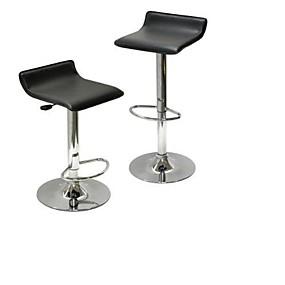 preiswerte Barhocker-Set mit 2 modernen luftverstellbaren Barhockern mit schwarzem Sitz