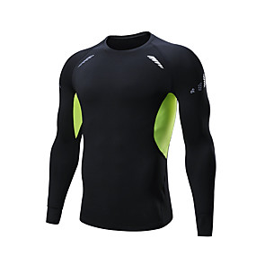cheap Men's Activewear-Men's Long Sleeve Compression Shirt Running Shirt Top Athletic Winter Quick Dry Soft Fitness Running Sportswear Plus Size Black Activewear Micro-elastic