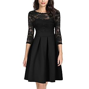 preiswerte Damenbekleidung-Damen Grundlegend Elegant Skater Kleid - Spitze Patchwork, Solide Knielang Gürtel nicht im Lieferumfang enthalten