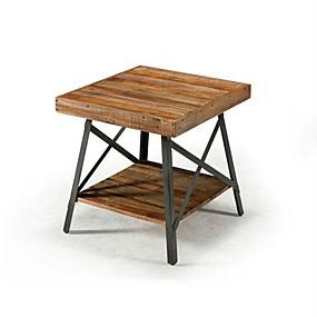 preiswerte Beistelltische-moderner industrieller Massivholz-Beistelltisch mit Regal und Metallbeinen