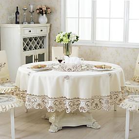preiswerte Küche & Utensilien-Moderne Landhaus Stil Polyesterfaser Kreisförmig Tischdecken Blumen Mit Mustern Stickerei Tischdekorationen