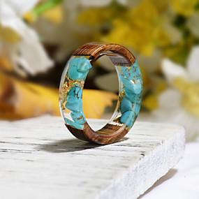 povoljno Nakit za vjenčanje i izlaske-Muškarci Žene Prsten Smola 1pc Tirkiz Smola Drvo Krug Nature Boho Dar Jewelry Cvjetni Tema Cvijet Botanički Slatko Lijep