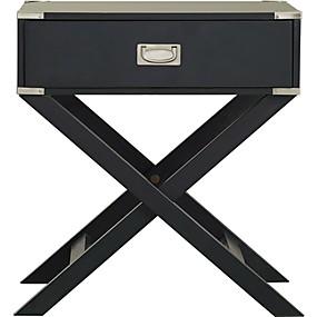 preiswerte Beistelltische-Dunkelgrauer schwarzer Nachttisch mit 1 Schublade und modernen Beinen im klassischen X-Stil