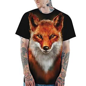 preiswerte Herrenmode-Herrn 3D / Tier - Grundlegend / Street Schick Übergrössen T-shirt, Rundhalsausschnitt Schlank Druck Schwarz / Kurzarm